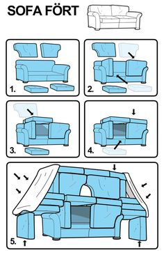How to build a sofa fort! Haha I love how ikea-ized the instructions are! Things To Do At A Sleepover, Fun Sleepover Ideas, Sleepover Games, Sleepover Crafts, Teen Sleepover, Ideas For Sleepovers, Teen Party Games, Sofa Fort, Simple Life Hacks