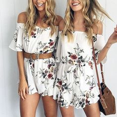 Courtney Off Shoulder Floral Playsuit (33 AUD) ❤ liked on Polyvore featuring jumpsuits, rompers, white off the shoulder romper, floral rompers, flower print romper, white romper and off the shoulder romper