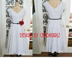 1950s Grace Kelly Style Custom Made V neck Circle skirt Godets Off shoulder Evening Dress polka dots. $260.00, via Etsy.
