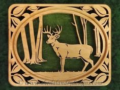 Deer Scroll Saw Patterns | SLDK232 - Self-Framing Leaf Bordered Whitetail Deer
