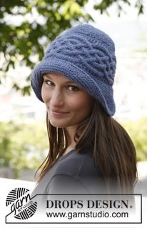 "Knitted DROPS hat with sideways cable in ""Nepal"". ~ DROPS Design"