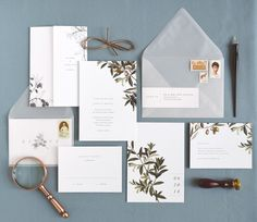 www.rachelmarvincreative.com | Oliva wedding invitations by Rachel Marvin Creative | Olive branches, address labels, vellum envelopes, folded enclosure, rsvp card and details card