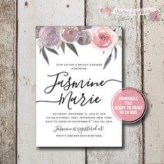 Bridal Shower Invitation Instant Download, Rustic Bridal Shower Invitation, Floral Bridal Invites, DIY Bridal Shower Invitations, Download by ShadesOfGrace1 on Etsy