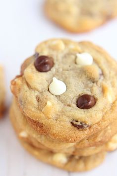 GOOD food photography - love the close up of these moist looking cookies. Sometimes simplicity lets the food shine and you can easily tell that it has multiple chocolates included.