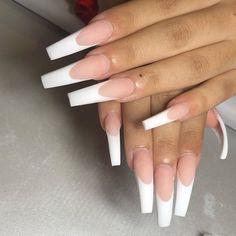 White Tip Acrylic Nails, Ballerina Acrylic Nails, Acrylic Nail Designs Coffin, Long Square Acrylic Nails, Bling Acrylic Nails, Acrylic Nails Coffin Short, Coffin Shape Nails, Long Square Nails, Gel Nails