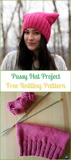 Knit Pussy Hat Project Free Pattern - Fun Kitty Cat Hat Free Knitting Patterns