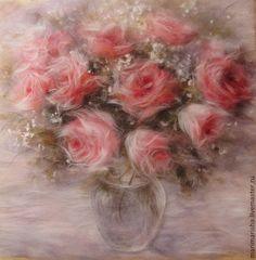 Купить Картина из шерсти. Розы для моей любимой. Авторская работа. - розы, подарок, картина с цветами