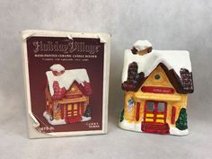 Holiday Village SCHOOL HOUSE Hand Painted Ceramic Candle Holder