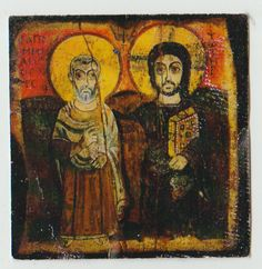 "Christ the True Friend icon ""Jesus rests His arm on the shoulder of Saint Mina, a Coptic ascetic and martyr of the third century"" https://www.monasteryicons.com/product/christ-the-true-friend-icon-166/icons-of-christ"
