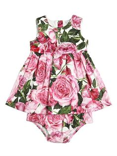DOLCE & GABBANA - ROSE PRINT COTTON DRESS & DIAPER COVER - OUTFITS & SETS - PINK - LUISAVIAROMA