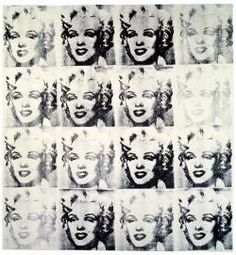 Not Warhol (Sixteen Silver Marilyns, 1963). Mike Bidlo.1985. Acrylic and silkscreen on canvas.190 x 178 cm. Just like in Pop art, Bidlo uses existing images to integrate into a new form of art.