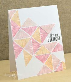 Triangles Birthday Card by Nichole Heady for Papertrey Ink (April - Kreativ - Creative Birthday Cards, Birthday Cards For Friends, Bday Cards, Handmade Birthday Cards, Happy Birthday Cards, Diy Birthday, Creative Cards, Simple Birthday Cards, Creative Logo