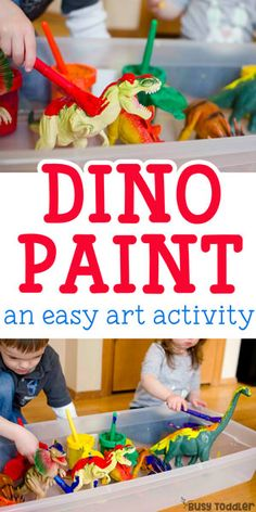 you painted dinosaurs? Painting Dinosaurs Process Art - such a quick and easy toddler activity!Painting Dinosaurs Process Art - such a quick and easy toddler activity! Dinosaur Theme Preschool, Dinosaur Activities, Preschool Art, Toddler Activities, Vocabulary Activities, Montessori Toddler, Toddler Learning, Sensory Activities, Toddler Preschool