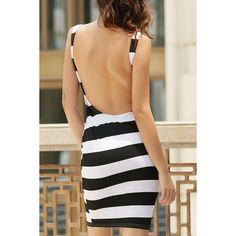 Backless Striped Sheath Dress (€27) ❤ liked on Polyvore featuring dresses, backless dresses, sheath dress, beige sheath dress, stripe dresses and striped dress