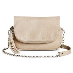 Women's Solid Crossbody Handbag with Zipper and Tassle Closure - Grey