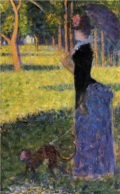 Woman with a Monkey - Georges Seurat. France, 1884. Post-Impressionism. Oil on wood. @ Smith College Museum of Art, Northampton, MA, USA.
