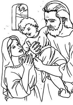 Saint Joseph holding Jesus.  Holy Family at Nazareth Catholic Coloring Page