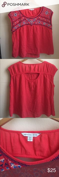 American Eagle embroidered blouse This coral pink flowy blouse is perfect for the summer! No flaws or wear. Tops Blouses