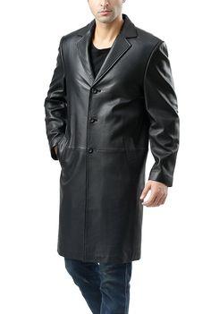 8deecab2b34 BGSD Men s Classic New Zealand Lambskin Leather Long Walking Coat (Regular   amp  Tall)