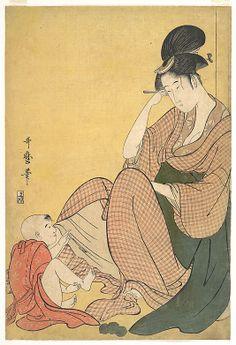 Woman and Child Kitagawa Utamaro (Japanese, 1753–1806) Period: Edo period (1615–1868) Date: ca. 1794–5 Culture: Japan Medium: Polychrome woodblock print; ink and color on paper