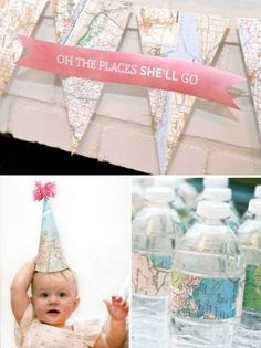Oh the places she'll go (party decor using maps)