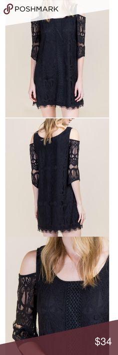 Black Lace Colder Shoulder Dress Black Lace Cold Shoulder Dress. 60% Nylon, 40% Cotton. Polyester Lining. Brand Blue Rain from Francescas. Francesca's Collections Dresses