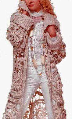 Crochet Sweater: Crochet Cardigan - Stylish Cardigan For Ladies - put a pretty liner under this and it would be gorgeous for next winter. Better get started now! Poncho Knitting Patterns, Crochet Cardigan Pattern, Crochet Jacket, Crochet Blouse, Crochet Poncho, Crochet Sweaters, Crochet Vests, Crochet Patterns Free Women, Crochet Designs