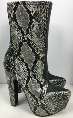 Jeffrey Campbell Downslide Black Gray Snakeskin Platform Boots New Size 6 Club Shoes, Black And Grey, Gray, Platform Boots, Mid Calf Boots, Jeffrey Campbell, Snake Skin, High Heels, Footwear