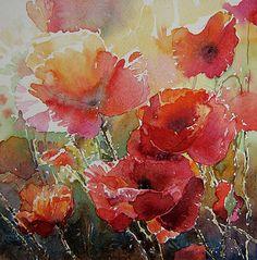 Kalina Toneva Art - Poppys by Kalina Toneva Watercolor Poppies, Abstract Watercolor, Watercolor And Ink, Watercolor Paintings, Watercolors, Arte Floral, Abstract Flowers, Botanical Art, Painting Art