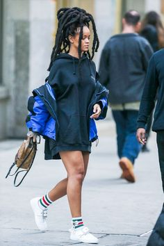 Rihanna wearing Balenciaga Oversized shell parka, Vetements Black Hooded Sweatshirt, Gucci Bow Little William Socks, Maison Margiela Oversized-Buckle Patent Leather Sneakers, Louis Vuitton Palm Springs Mini Backpack Style Outfits, Mode Outfits, Casual Outfits, Fashion Outfits, Estilo Rihanna, Mode Rihanna, Rihanna Fenty, Look Fashion, Girl Fashion