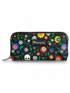 """Floral Skull"" Wallet by Loungefly (Black) 