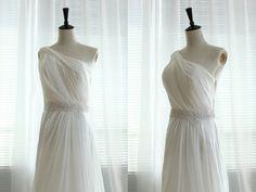 One Shoulder Chiffon Wedding Dress Bridal Gown by wonderxue, $250.00