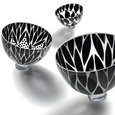 Black, inside engraved hand blown glass bowls. Made in North  Yorkshire.