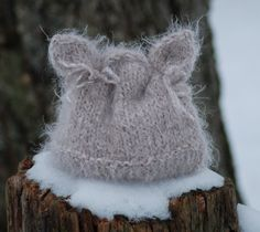 Soft Spring Kitten Hand Knit Hat Newborn Baby Photo Prop. $24.50, via Etsy.