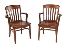 matching set of early 1920's american industrial factory office solid varnished oak wood slat back armchairs - murphy chair company, owensborough, ky. #industrial #armchair