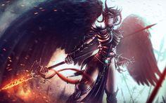 Dungeons and Dragons, Antheia AnRaza, Игра, фантастика, девушка, крылья, доспехи, копье, воин