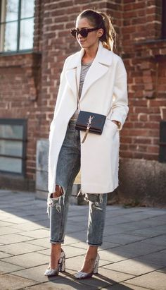 Fashion Thick Lapel Mid-Length Woolen Coat - Outfits for Work Autumn Look, Autumn Style, Mode Outfits, Casual Outfits, Fashion Outfits, Fashion Story, Outfits 2014, Office Outfits, Fashion Mode