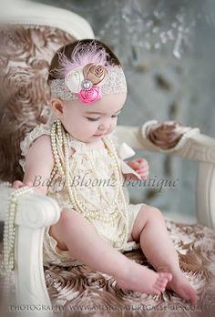 Baby Headband, Baby hair bow, flower headband, newborn headband, Satin Rosette headband, Baby girl Headbands, toddler headband, Shabby Chic. $11.95, via Etsy.