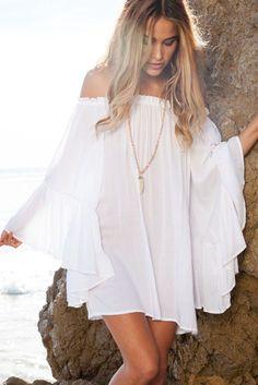 White Exquisite Chiffon Her Mini Dress