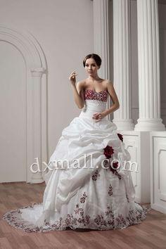 Ball Gown Wedding Dresses Sweetheart Chapel Train Taffeta Satin Ivory 01001020078