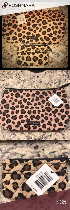 Vera Bradley Leopard Print Vera Bradley NWT Leopard Print Bundle set includes a Large Cosmetic Bag & Coin Purse Retails for $48 Great for a Christmas or Birthday Gift 🎁 Vera Bradley Bags Cosmetic Bags & Cases