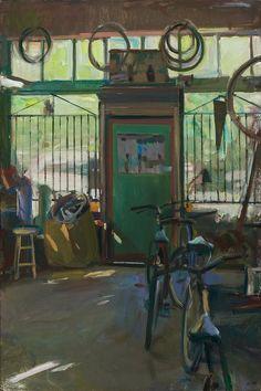 "Boyd Gavin, ""Bike Repair"", oil on canvas Landscape Sketch, Landscape Art, Nostalgic Art, Bicycle Art, Bike, Painter Artist, Beautiful Paintings, Painting Inspiration, Lovers Art"