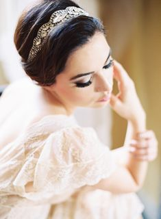 jeweled head wrap paired with an elegant chignon #hair-accessories  Photography: Marissa Lambert - marissalambertphotography.com  Read More: http://www.stylemepretty.com/2014/08/04/romantic-french-garden-inspired-photo-shoot/