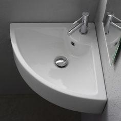 Nameeks Scarabeo Ceramic Wall Mounted / Corner Bathroom Sink with White / One Hole Fixture Lavatory Sink Ceramic Small Attic Bathroom, Corner Sink Bathroom, Modern Bathroom, Master Bathroom, Bathroom Sinks, Modern Sink, Downstairs Bathroom, Bathroom Storage, Garage Bathroom