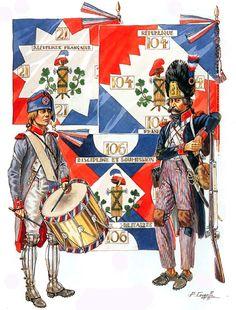 "FRANCIA - ""Republican Demi-Brigades""  • Typical flags  • Drumner  • Grenadier, 1794-96  Patrice Courcelle"