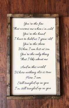 Tangled Up Song Lyrics Sign Romantic Sign Wedding Gift Staind Lyrics, Song Lyrics, Poem Quotes, Lyric Quotes, Together Lyrics, Tangled Up In You, Coffee Bar Home, You Poem, Pretty Notes