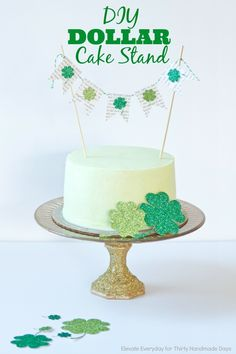 DIY Dollar Cake Stand. Fun glitter cake stand idea for your next party.