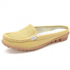 $15 Casual Hollow Out Breathable Open Heel Slip On Lazy Shoes Flat Loafers