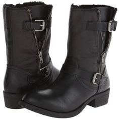 Wanted Barney Women's Zip Boots, Black ($33) ❤ liked on Polyvore featuring shoes, boots, black, buckle strap boots, black shoes, zip boots, wanted shoes and strap boots