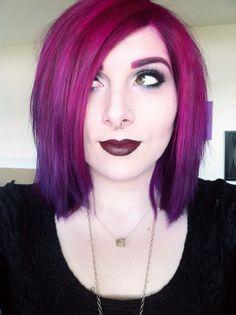 Magenta purple ombre hair